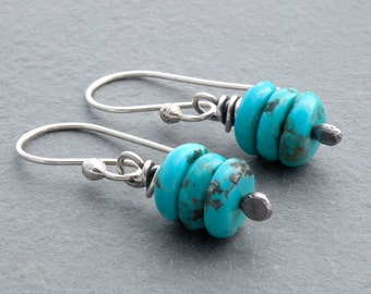 Turquoise Gemstone Earrings, Stacked Gemstones, Turquoise Dangle Earrings, Sterling Silver, Wire Wrapped, December Birthstone, #4638