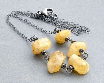 Golden Beryl Necklace, Faceted Heliodor Necklace, Faceted Yellow Gemstone Necklace, Sterling Silver, Wire Wrapped, #4133