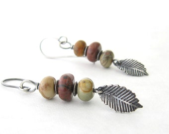 jasper and silver earrings, boho dangle earrings, rustic stone earrings, oxidized silver earrings, multi stone earrings