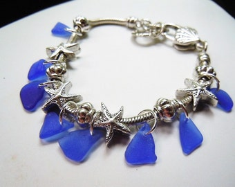 Sea Glass Bracelet, Starfish Nautical Blue Beach Glass Jewelry Seaglass Charm Bracelet
