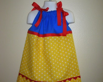 Snow White Inspired Pillowcase Dress, Sizes 3M  up to 8 years