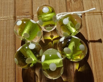 Transparent Green with White Dots Handmade LAMPWORK Bead Set