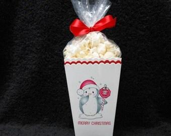Christmas Popcorn Boxes - Penguin Popcorn Box - Gift Box - Christmas Party Box - Set of 10