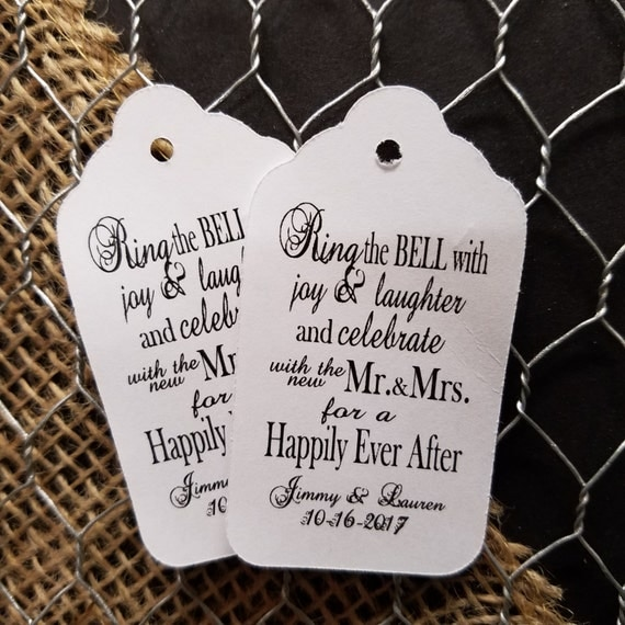 Ring the Bell with joy and laughter Mr and Mrs Happily Ever After Personalized Wedding Favor MEDIUM tag choose your amount