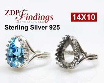 1pcs x Pear Shape 14x10mm Quality Sterling Silver 925 Cast Bezel Ring Cups For Setting, Choose your Finish (9839SV)