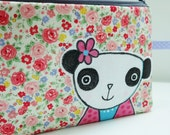 Panda and Flowers Purse, Hand Drawn Applique Panda Purse, Panda Pencil Case, Fun Pouch, Ditsy Flowers