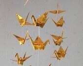 "14 Small Origami Cranes Mobile - Gold, small 14 cranes, 3"" (7.5cm) Solid Origami in Gold, Home Decor, Nursery Decor, Baby Mobile, Handmade"