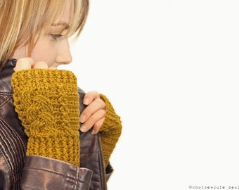 CROCHET PATTERN - Braided Fingerless Mitts - Instant Download (PDF)