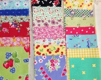 Fabric Destash Set of 25 Three Inch Squares Assorted Fabric Squares Cute Fabric Squares EPP Applique Fabric Paper Piecing Fabric
