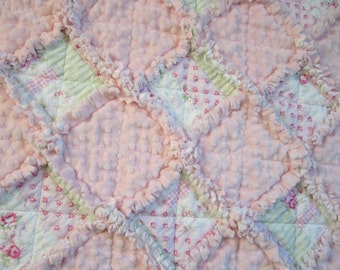 """Minky Baby Quilt, 31"""" x 36"""",Baby Rag Quilt, Cottage Chic Decor, Pink Baby Quilt, Green Baby Blanket"""