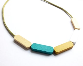 Scandi wooden necklace hand painted turqouise mustard white grey modern contemporary geometric