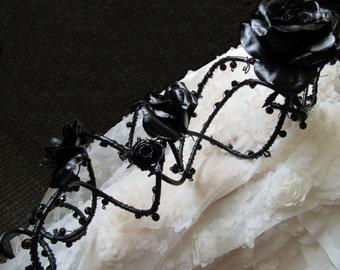 Black Wedding Bouquet: Rose and Crystal Trailing Arrangement