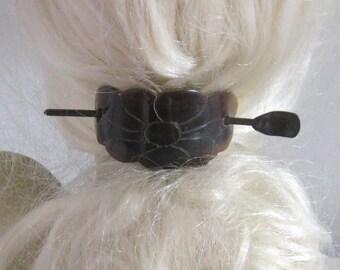 carved horn Hair Barrette .  horn barette . pony tail holder . hair slide barrette . barrette . slider barrette . carved horn