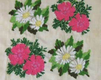 Embroidery Panel . Crewel embroidery . pink and white flower embroidery .  crewel flowers