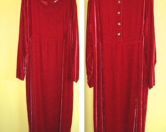 Cherry Red Velvet Dress / Red Velvet Dress by Boston Proper / Plus Size Red Velvet Dress / XL Velvet Dress