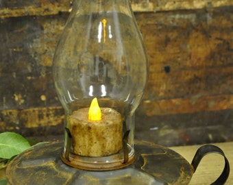 Primitive Country Kitchen Lantern - Grubby flickering candle lighted decor Rustic Home decoration lamp