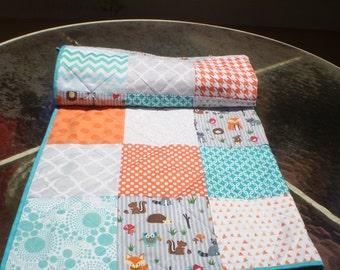 Baby Quilt,crib quilt,baby boy bedding,baby girl quilt,woodland baby quilt,rustic,teal,aqua grey,orange,fox,owl,dot,chevron,toddler,Critters