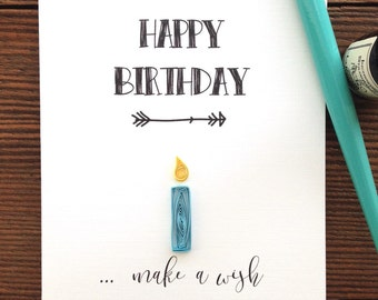 Quilled birthday candle card // HAPPY BIRTHDAY ... make a wish // quilled birthday card // light blue  & yellow // made in Canada