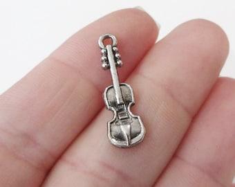 10, Violin Charms 25x7x2mm, Hole 2mm ITEM:O6