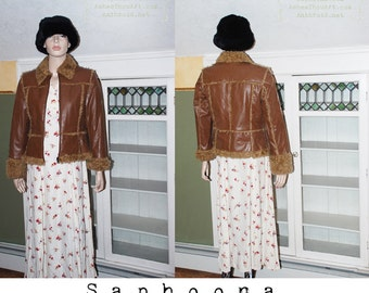 Vintage Boho 70s Faux Shearling vegan leather Coat Jacket brown patchwork hippie festival veggie leatherette sherpa penny lane US SHIPPING