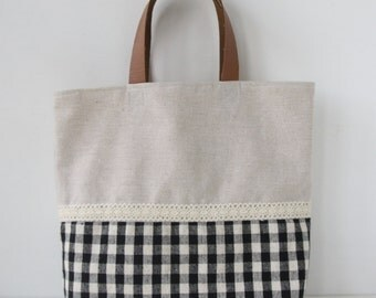 Zakka Style Linen and Black Gingham Casual Tote