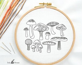 Mushroom, toadstool field study, sampler Digital hand embroidery pattern , PDF instant Download