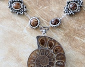 Steampunk Neo Victorian Jewellery - Necklace - Ammonite fossil with Tibetan agate bead -Silver-tone