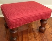 Red Fabric Upholstered Footstool with Big Heavy Turned Legs