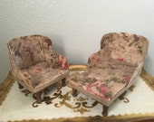Doll Furniture Chair and Lounge Seat Barkcloth Floral Fabric Hand Made
