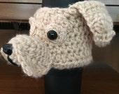 Crochet // Yellow Labrador Dog Coffee Cozy Crochet