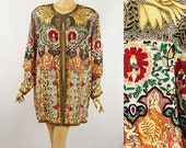 Judith Ann Creations Silk Multi Color Open Style Beaded Formal Jacket Sz 3X Plus B50 W54