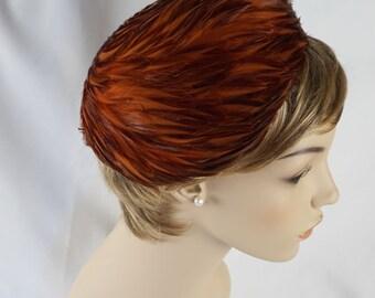 Vintage 1960s Hat Swirled Feathered Asymmetrical Pillbox Sz 22