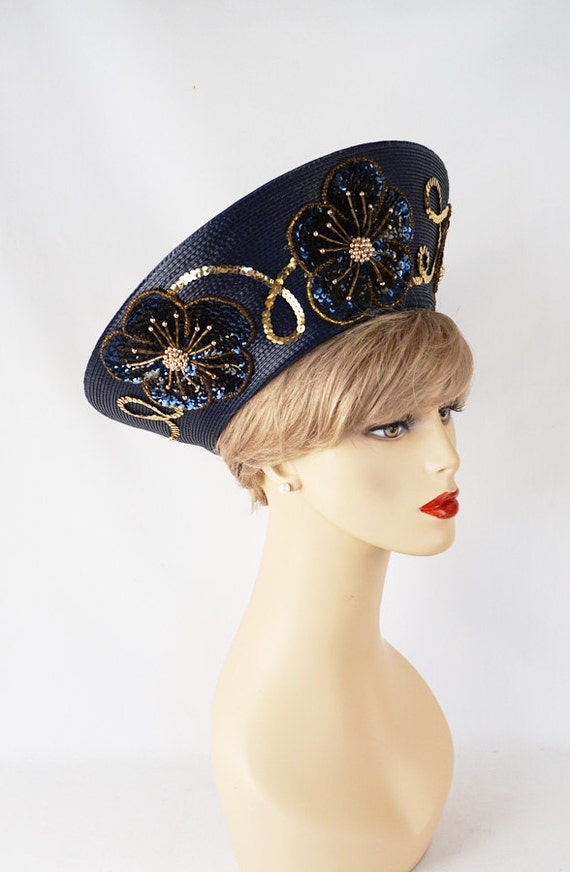 navy blue upturned brim beaded sequined church hat sz
