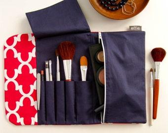 Beauty Gift for Traveler. Makeup Organizer. Cosmetic Brush Roll & Makeup Bag. Pink Makeup Brush Bag. Makeup Brush Holder. Travel Accessories