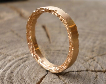 18kt Rose Gold Rough Edge Band 3mm width