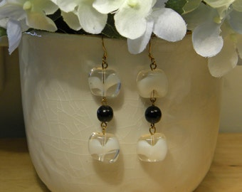 White and Black Beaded Earrings