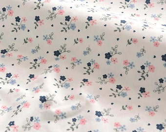 4155 - Flower Cotton Jersey Knit Fabric - 59 Inch (Width) x 1/2 Yard (Length)