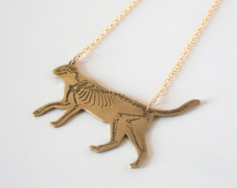 Cat Necklace - Animal Necklace - Skeleton Necklace - Cat Jewelry - Cat Lady - Cat Lover Gift - Cat Skeleton - Animal Necklace - Biology