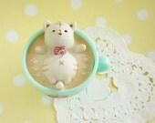 1 pc Latte Kitten Charm (5cm) AZ269 Sleeping in Green cup