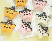 6 pcs Chocolate Dipped Star Smiley Cookie Cabochon (25mm) CD651