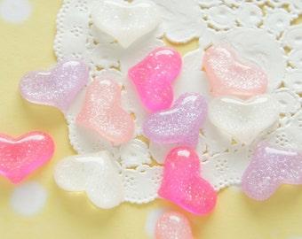 16 pcs Glitter Puffy Heart Cabochon (15mm20mm) IK155