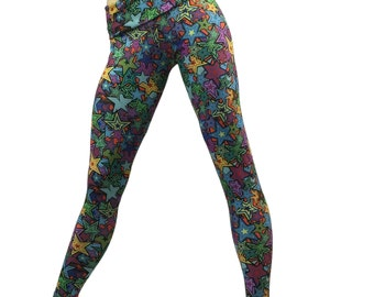 Star Galaxy  Pants Yoga Fitness Legging Fold Over Low/High Rise SXYfitness Brand Item 8556 Sizes xxs-xxl (00-18 US) made in the USA