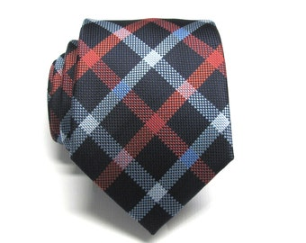 Mens Tie. Navy Blue Red Light Blue Plaid Mens Necktie with Matching Pocket Square Option