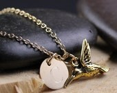 Hummingbird 14kt gold-filled Necklace Personalized with Engraved Initial Name Jewelry