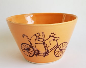 Small Bowl, Made to Order,  Crazy Cat Lady, Cat Person, Cat Riding a Bike, Cat Bowl, Cereal Bowl, Handmade Bowl, Ceramic Bowl, Orange Bowl