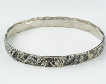 Fused Silver Bracelet Bangle Sterling Sculptural Artisan Contemporary Abstract Cuff
