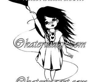INSTANT DOWNLOAD Digi Stamps Big Eye Doll Digi love heart balloon Pretty girl By Katerina Art