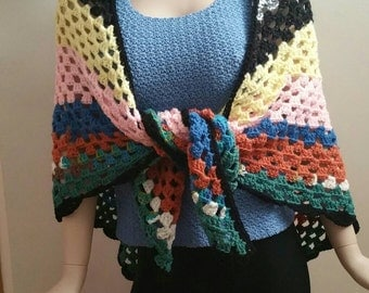 Crochet Granny Shawl One of a Kind Hippy Shawl
