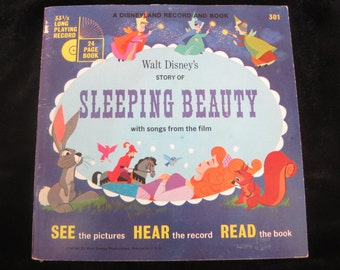 Vintage children's 33 1/3 rpm record and booklet Disney's Sleeping Beauty