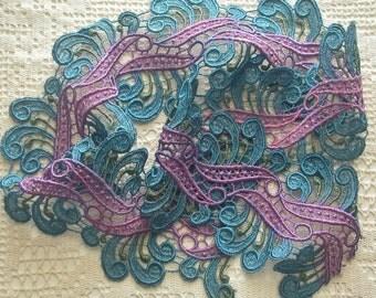 Wide Lace Hand Dyed Scroll Design Venise Lace, Embellishment, Venise Lace